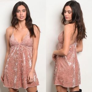 Pink Crushed Velvet Racerback Dress w Lace Inlay